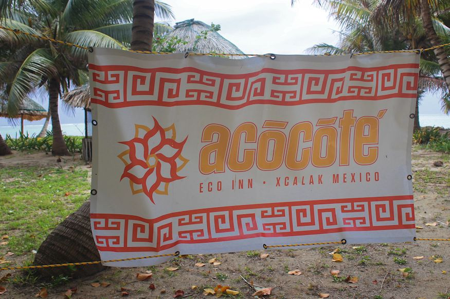 Acocote Eco Inn Xcalak Mexico sign