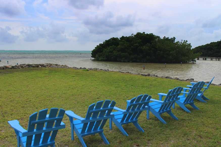 Relaxing chairs looking over sea