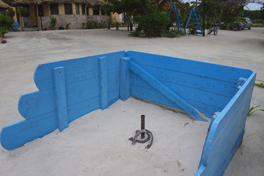 Horseshoes game in sand at Costa de Cocos