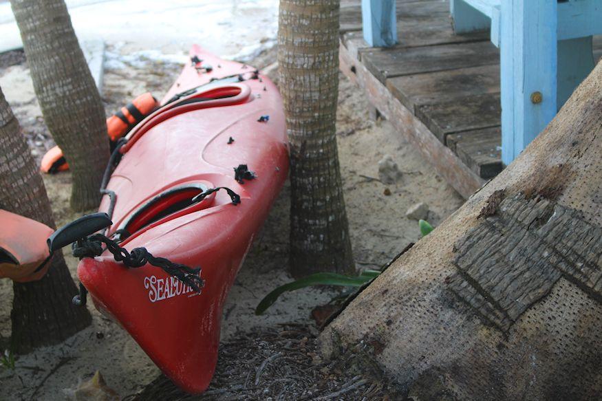 Kayak near patio