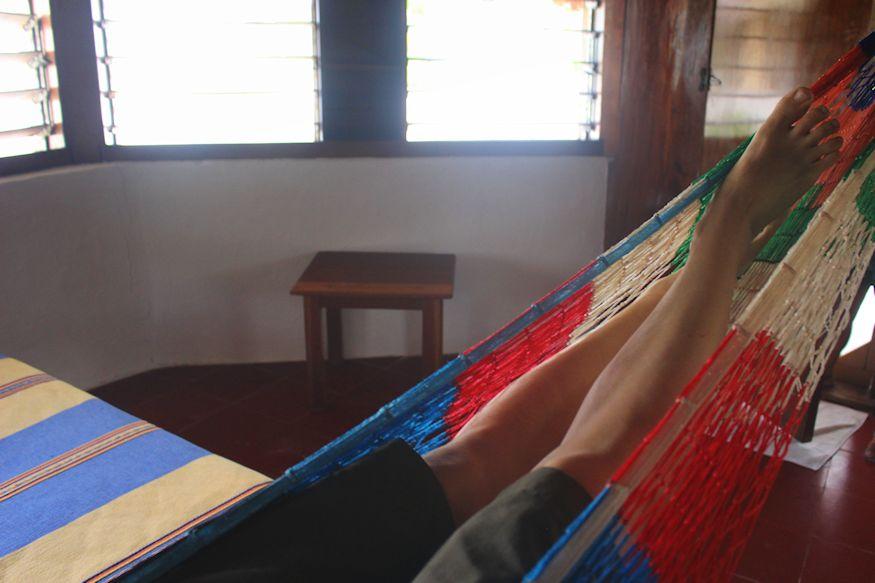 Relaxing in a hammock in room