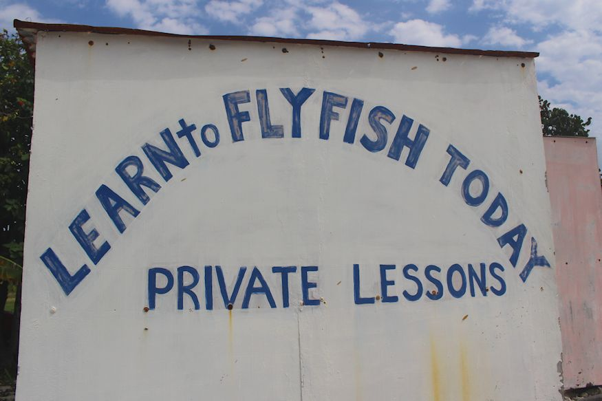 Learn to Flyfish Sign at Cocos