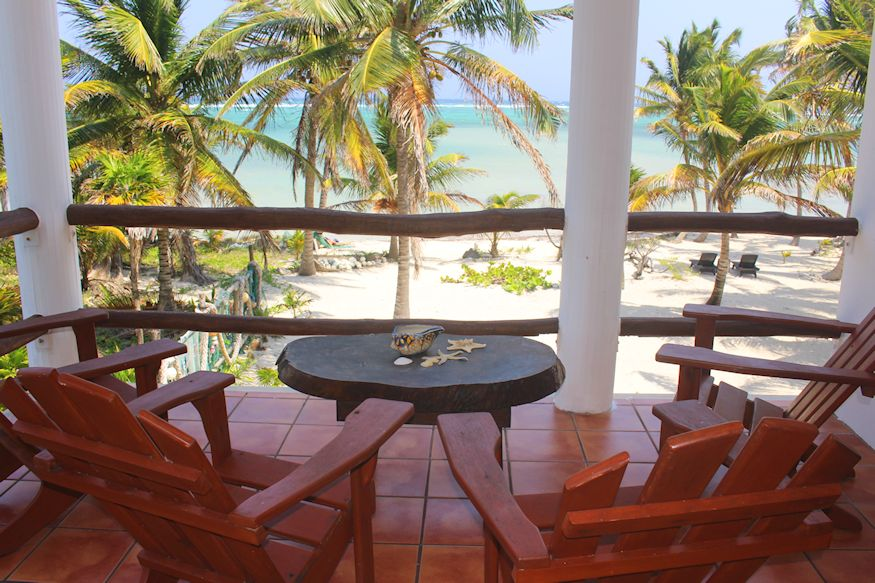 Tropical chairs overlooking Caribbean Sea