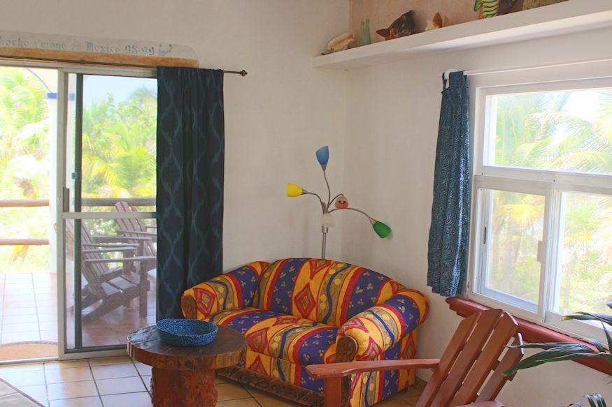 Colorful couch at Playa Sonrisa