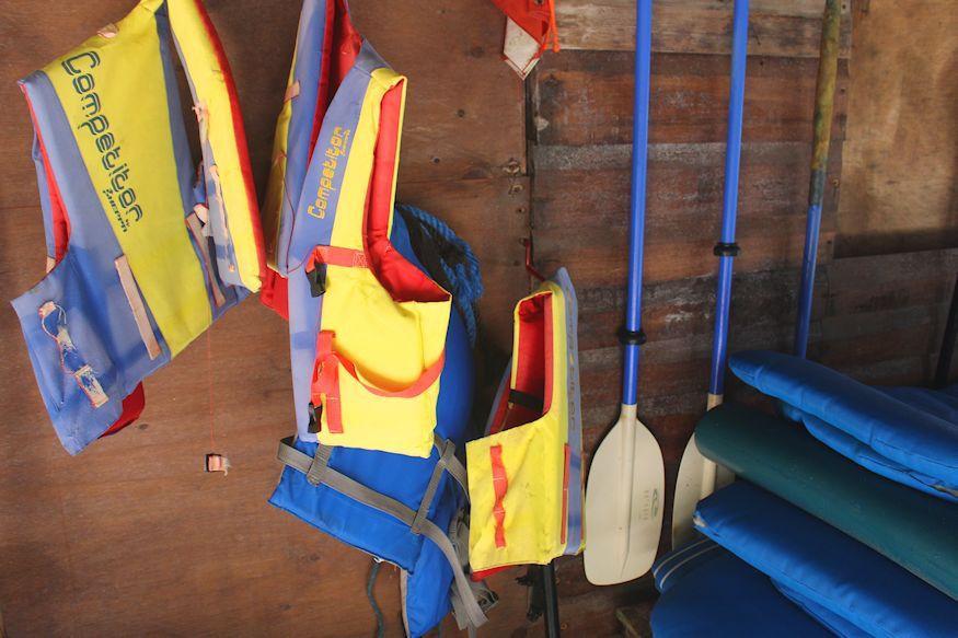 Life jackets and paddles