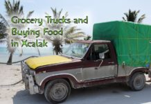 Grocery Trucks & Buying Food in Xcalak - grocery truck at the beach