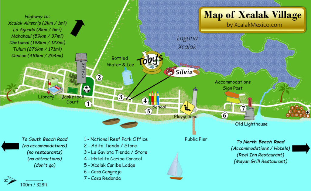 Tourist Map of Xcalak Mexico Village