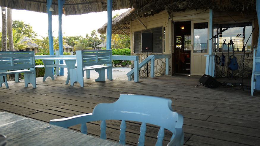 Cocos Patio with blue chairs