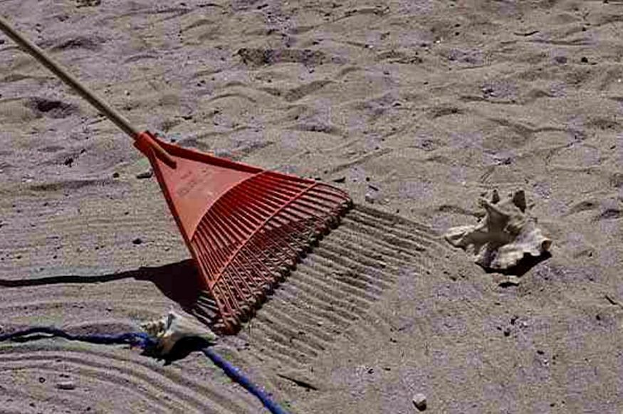 A rake on the sand, making a circular hermit crab racetrack