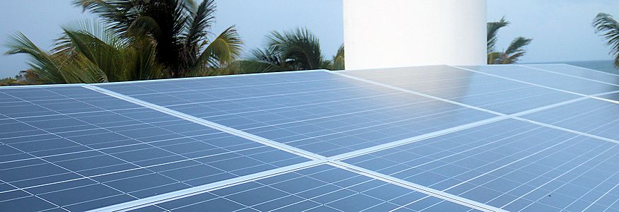 solar panels on a roof in Xcalak