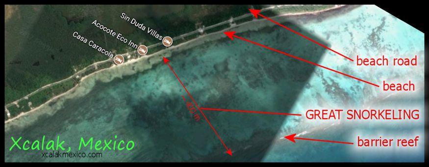 Xcalak snorkeling reef map