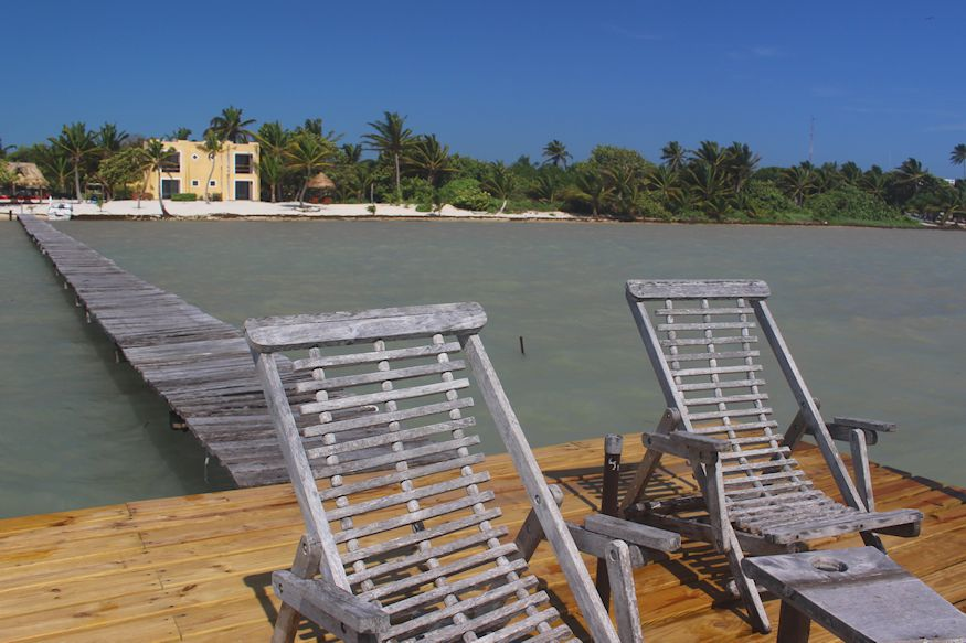 Chairs on dock at Casa Paraiso Xcalak