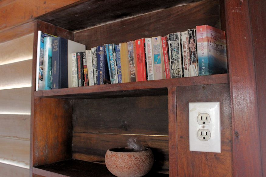 Bookshelf and power outlet