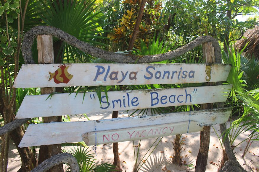 Playa Sonrisa Smile beach sign