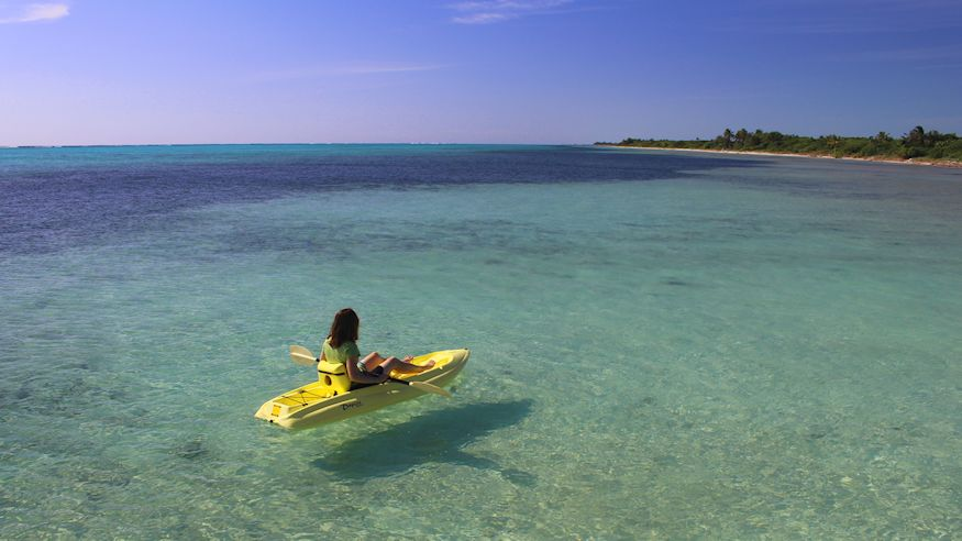 Kayak floating on clear water