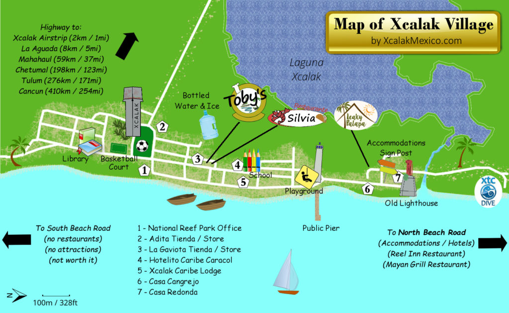 Tourist Map of Xcalak Mexico Village 2018