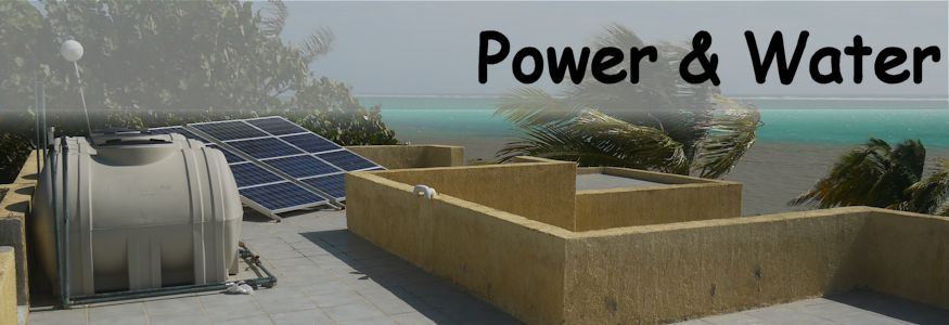 Solar panels and a cistern on the roof