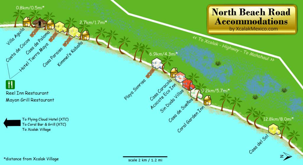 Xcalak Map of Beach Accommodations 2018
