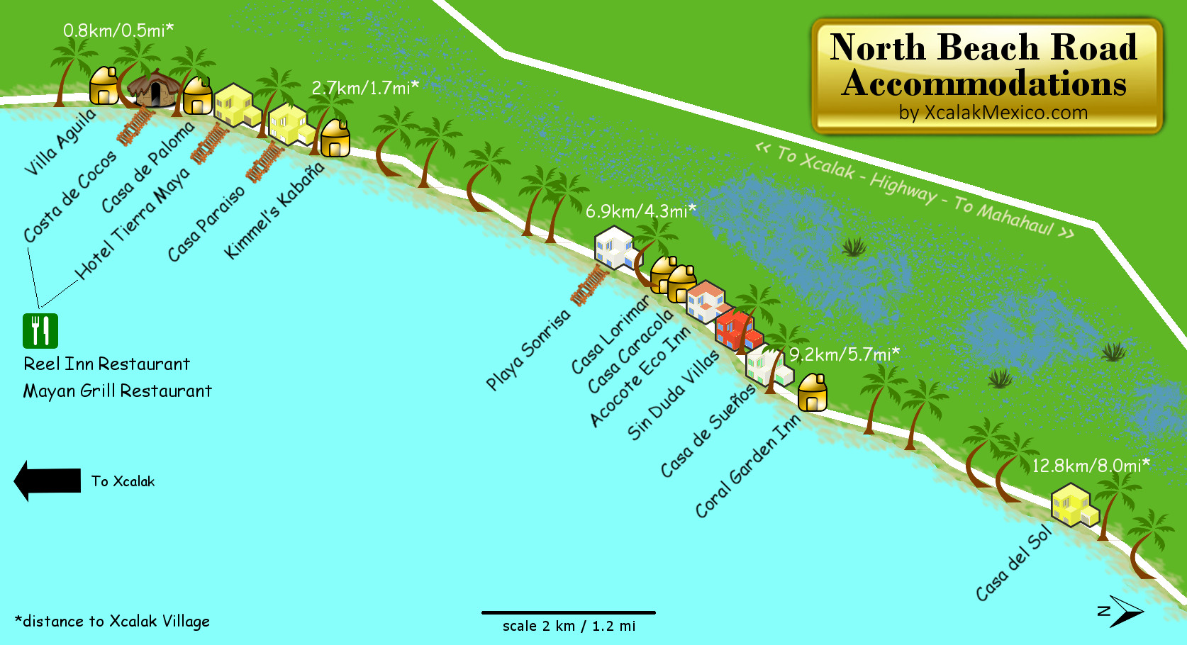 Xcalak Map of Beach Accommodations