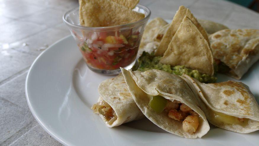 Shrimp quesadilla and salsa