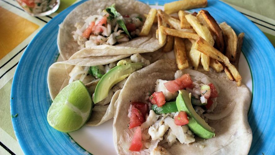 A delicious fish taco at Silvia's Restaurant in Xcalak, Mexico