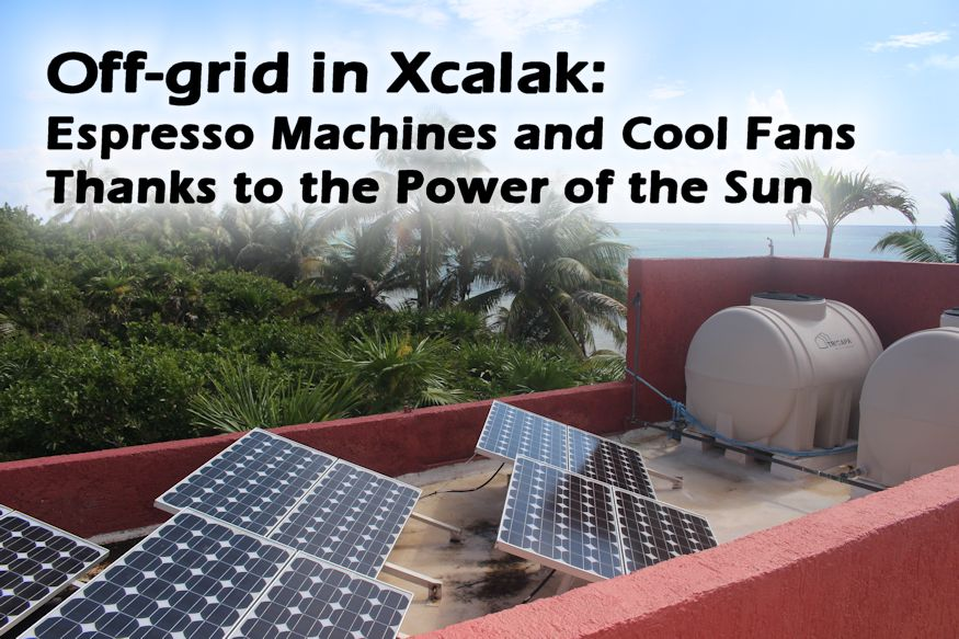 Off-grid in Xcalak: Espresso Machines and Cool Fans Thanks to the Power of the Sun featured image with blue solar panels on a red roof in Xcalak