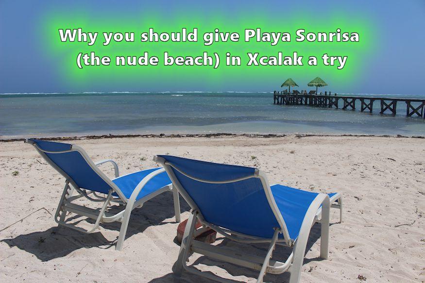 Beach chairs at Playa Sonrisa in Xcalak